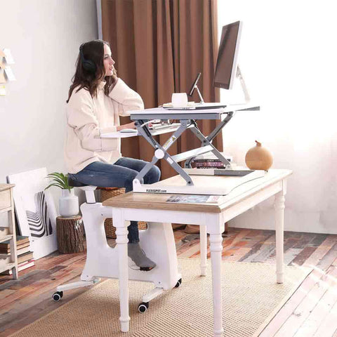 Image of Flexispot Sit-Stand-Move Solution: Desk Riser + Desk Bike