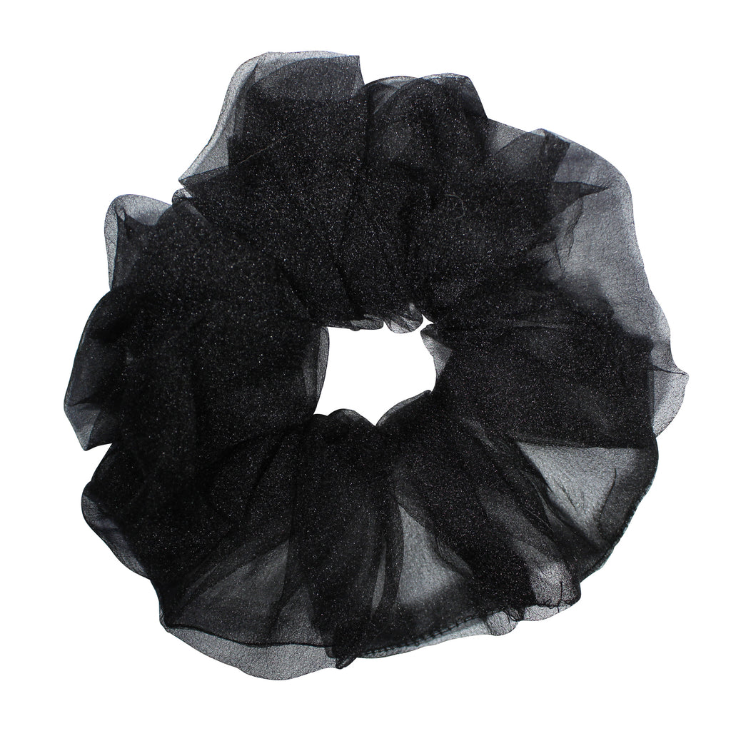 Oversized Organza Scrunchie - black