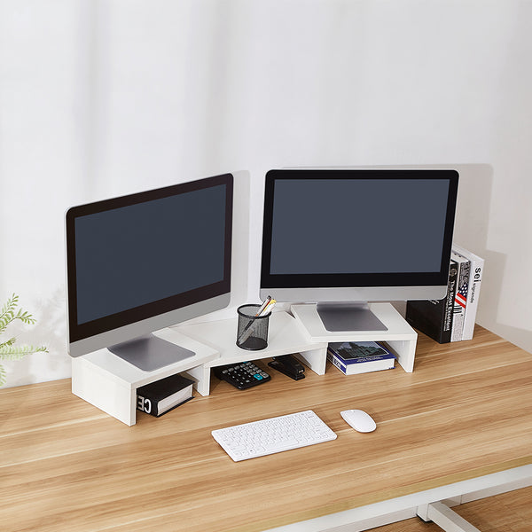 SUPERJARE Adjustable Monitor Stand, White - 80306W