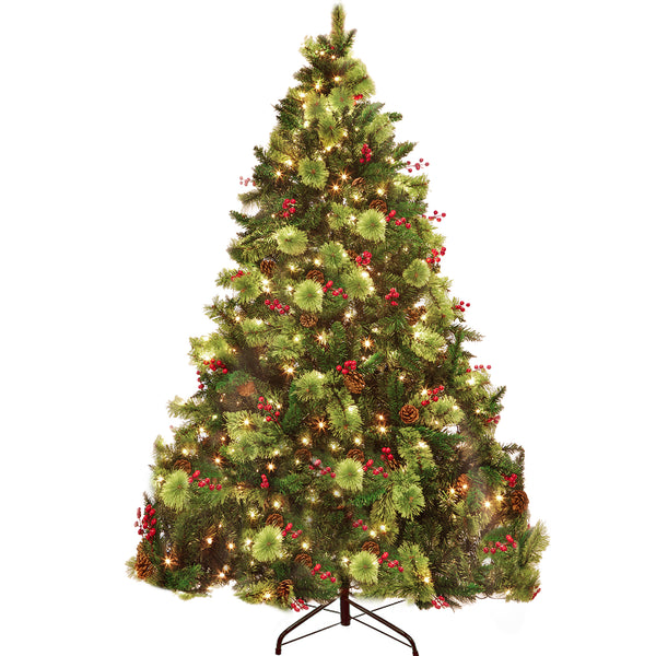 6' Green Pine Artificial Christmas Tree with 450 Orange Lights MHCT03