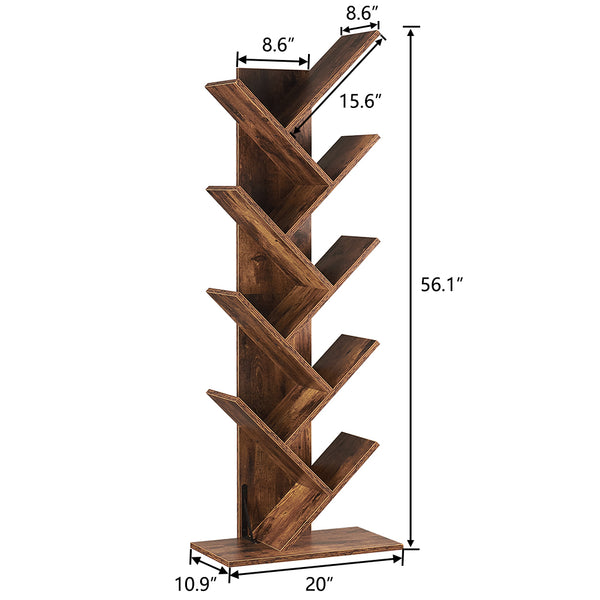 SUPERJARE 9-Shelf Tree Bookshelf