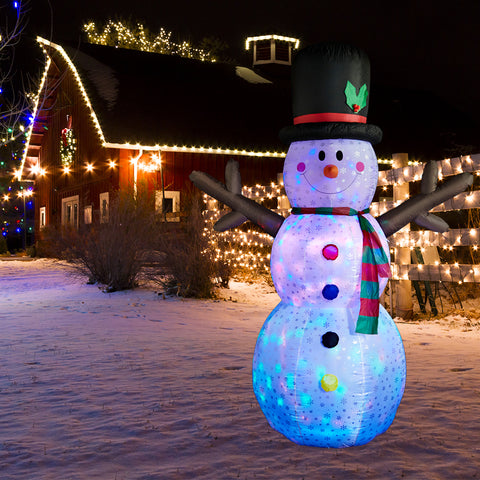 SUPERJARE 9 Ft Flashing Lights Inflatable Snowman