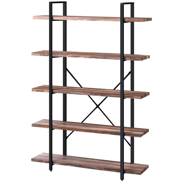 SUPERJARE 5-Shelf Industrial Bookshelf, Retro Brown W-80905Z
