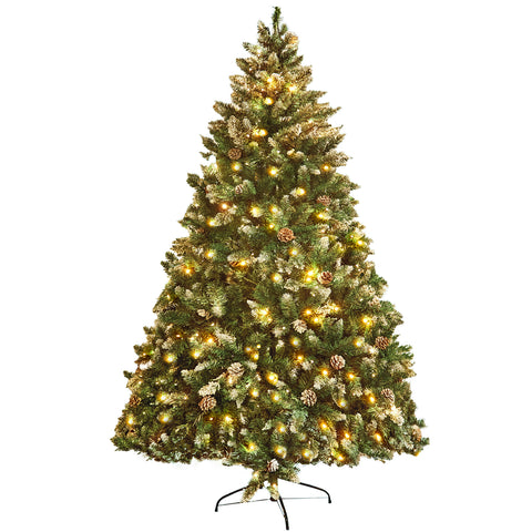 7' Snow Green Pine Artificial Christmas Tree with 450 Orange Lights MHCT05