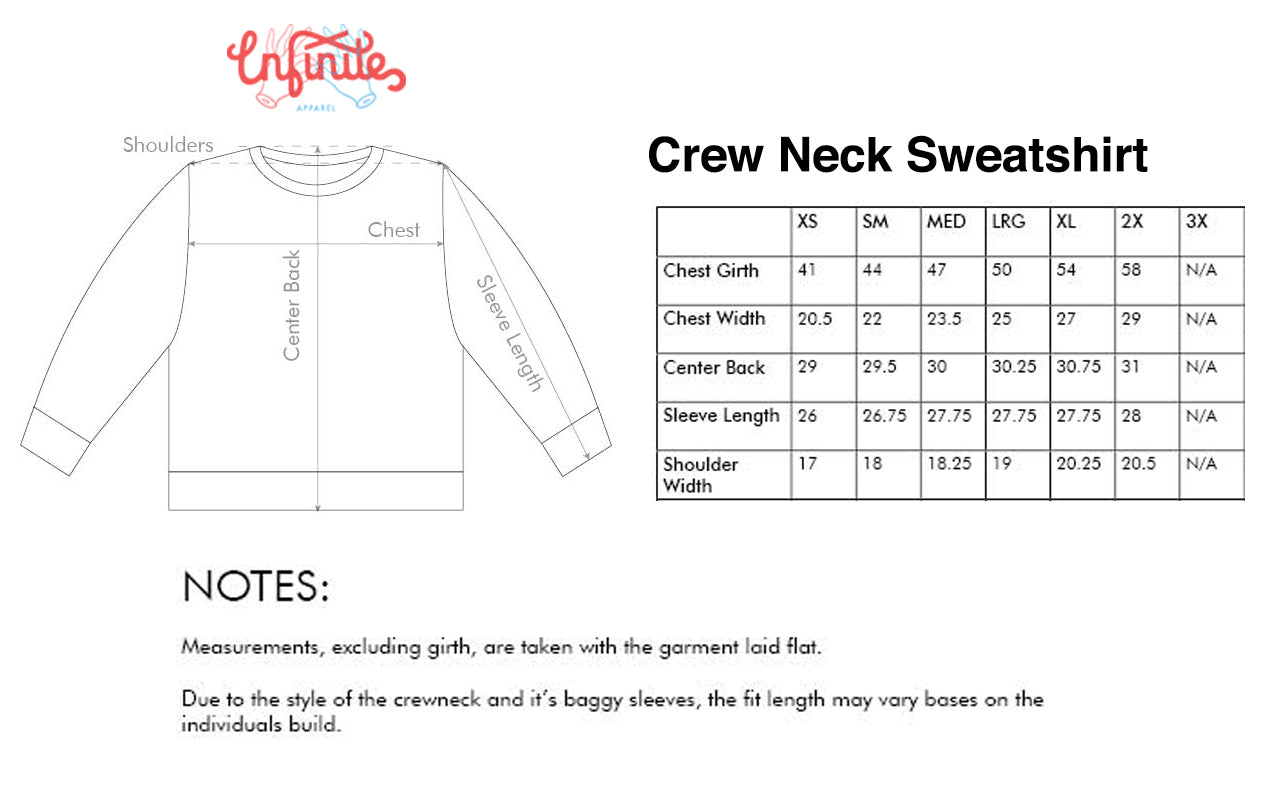 Sweatshirt Sizing Chart Infinite Apparel