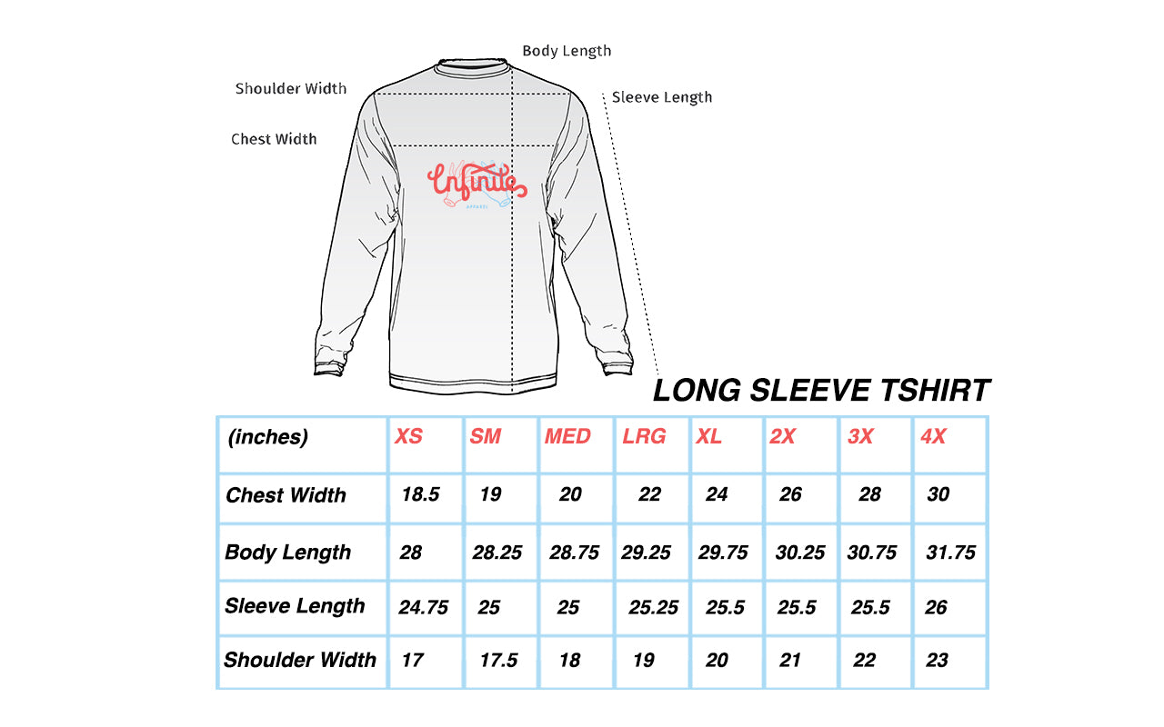 TShirt Long Sleeve Mens Sizing Chart Infinite Apparel
