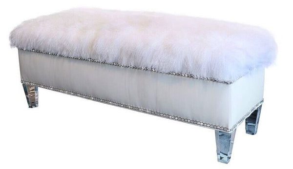 White Leather Bench
