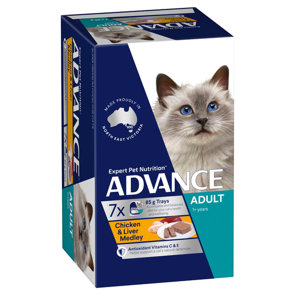 ADVANCE™ 1+ Years Adult Wet Cat Food Chicken & Liver Medley 7x85g Trays