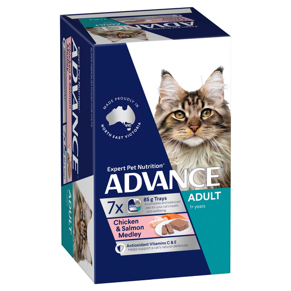 ADVANCE™ 1+ Years Adult Wet Cat Food Chicken & Salmon Medley 7x85g Trays
