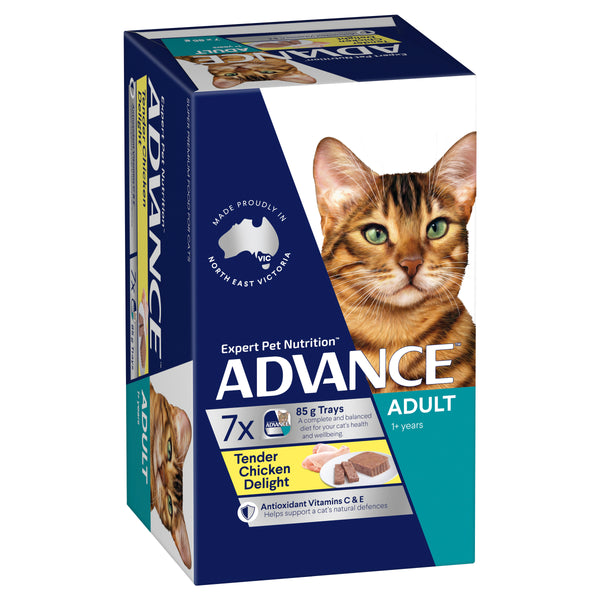 ADVANCE™ 1+ Years Adult Wet Cat Food Tender Chicken Delight 7x85g Trays