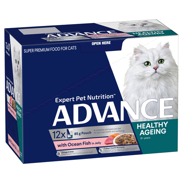 ADVANCE™ Healthy Ageing Adult Wet Cat Food Ocean Fish in Jelly 12x85g Pouches
