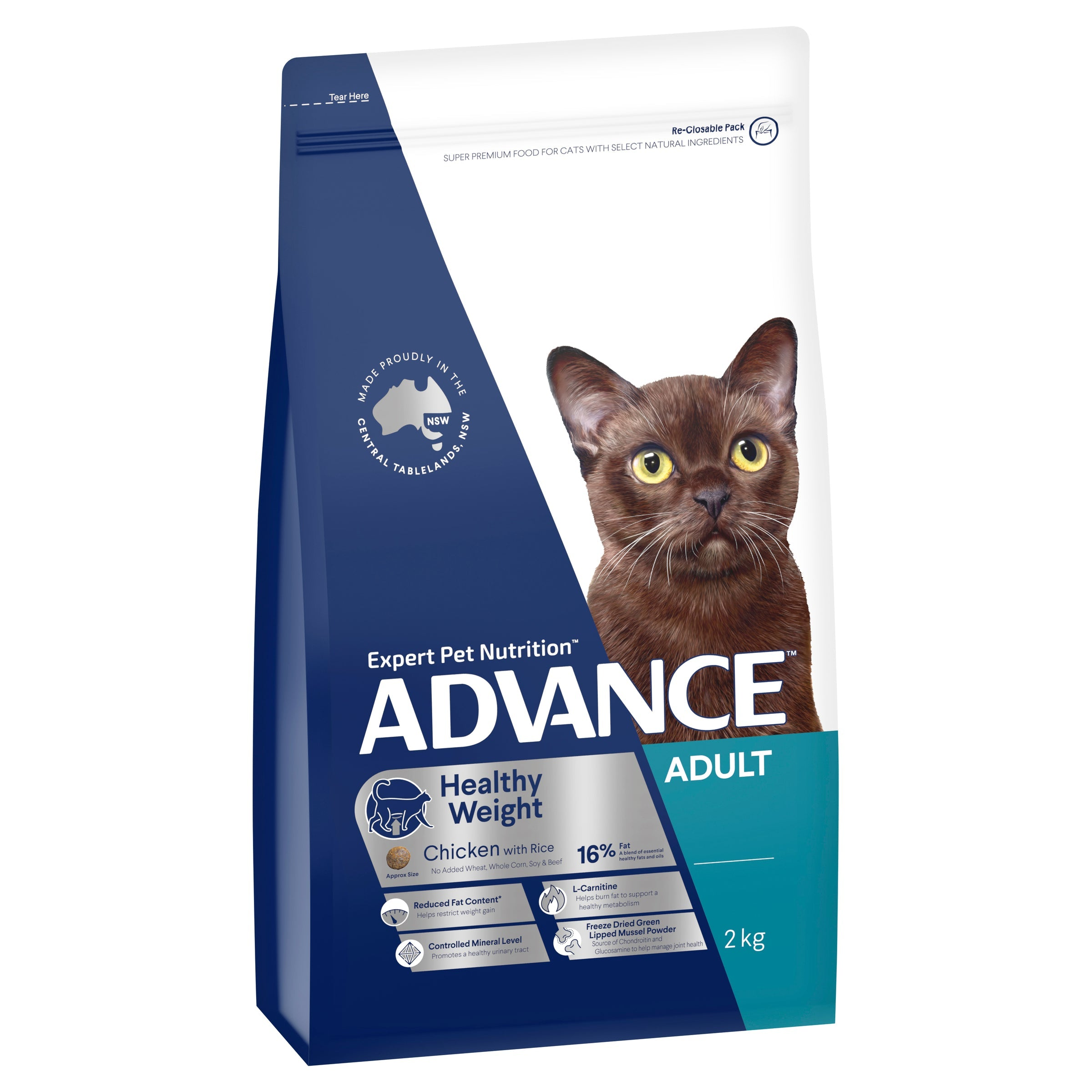 ADVANCE™ Healthy Weight Adult Dry Cat Food Chicken with Rice 2kg