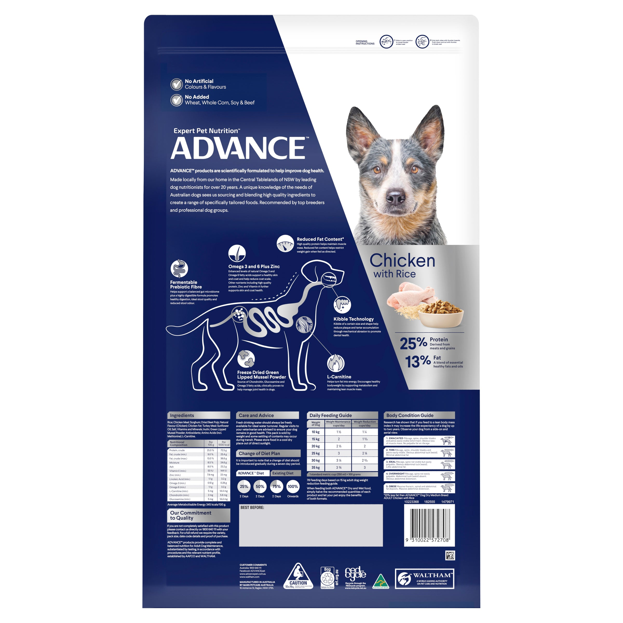 ADVANCE™ Healthy Weight Adult Medium Breed Chicken with Rice Dry Dog Food 13kg