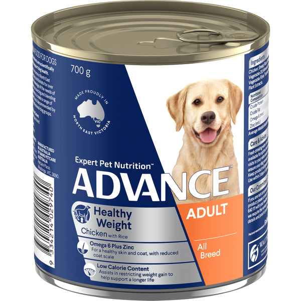 ADVANCE™ Adult All Breed Healthy Weight Chicken & Rice Wet Dog Food 12x700g Cans