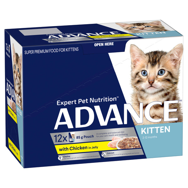 ADVANCE™ Kitten 2-12 Months with Chicken in Jelly Wet Cat Food 12x85g Pouches