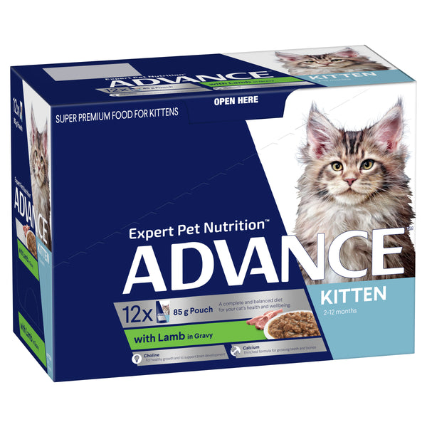 ADVANCE™ Kitten 2-12 Months with Lamb with Gravy Wet Cat Food 12x85g Pouches