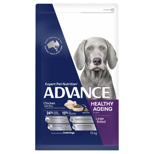 ADVANCE™ Healthy Ageing Large Breed Chicken & Rice Dry Dog Food 15kg