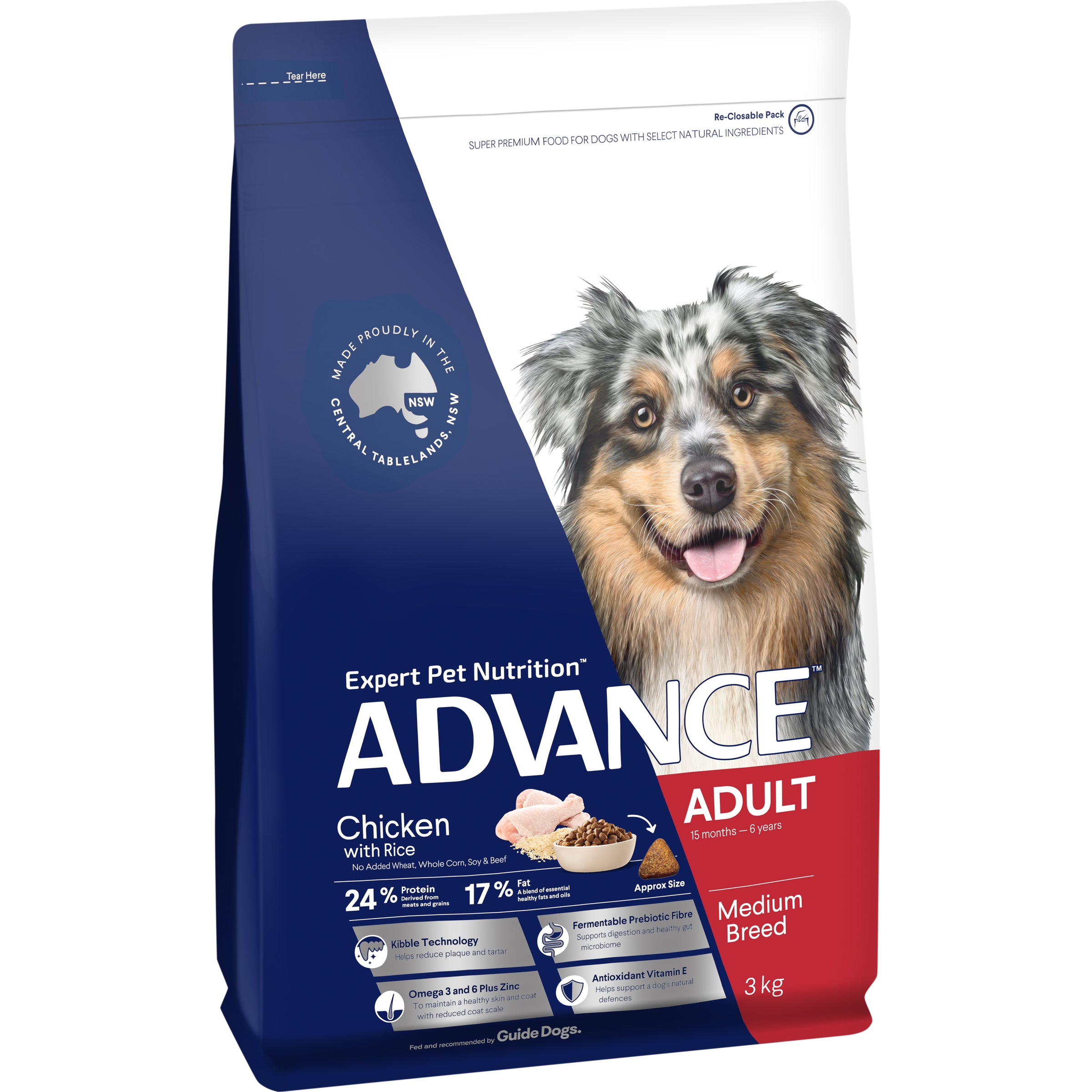 ADVANCE™ Adult Medium Breed Chicken with Rice Dry Dog Food 3kg