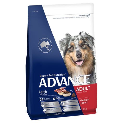 ADVANCE™ Adult Medium Breed Lamb with Rice Dry Dog Food 3kg