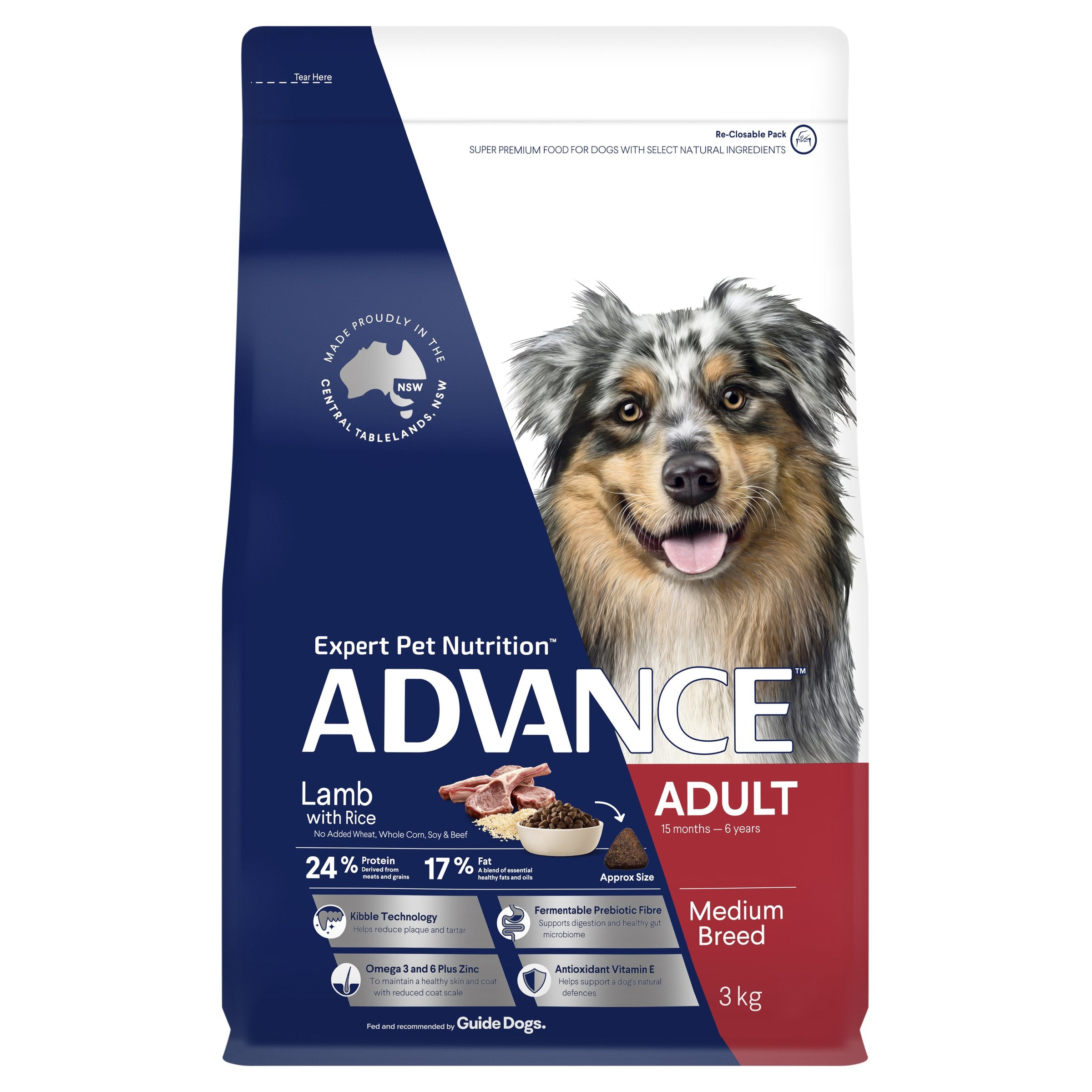ADVANCE™ Adult Medium Breed Lamb with Rice Dry Dog Food 15kg
