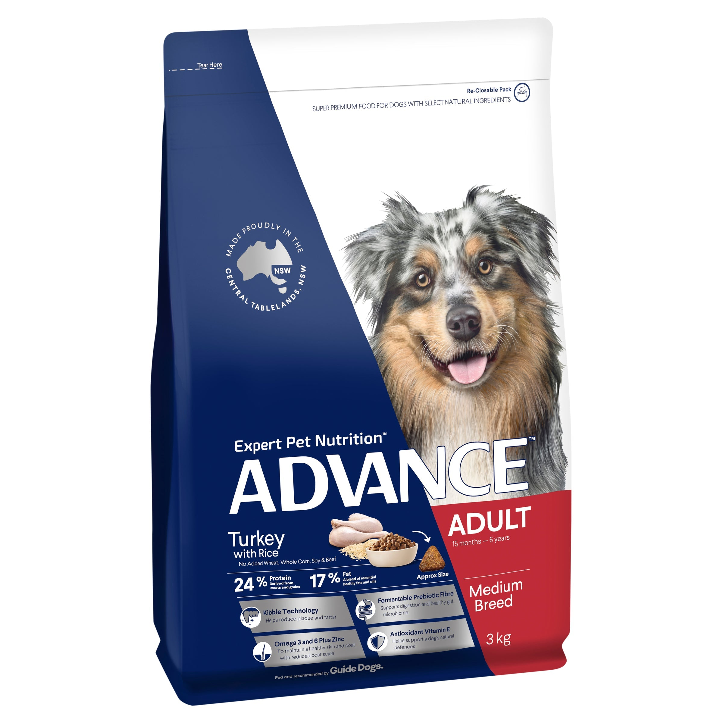 ADVANCE™ Adult Medium Breed Turkey with Rice Dry Dog Food 3kg