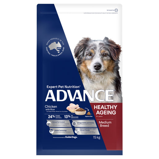 ADVANCE™ Healthy Ageing Medium Breed Chicken & Rice Dry Dog Food 15kg