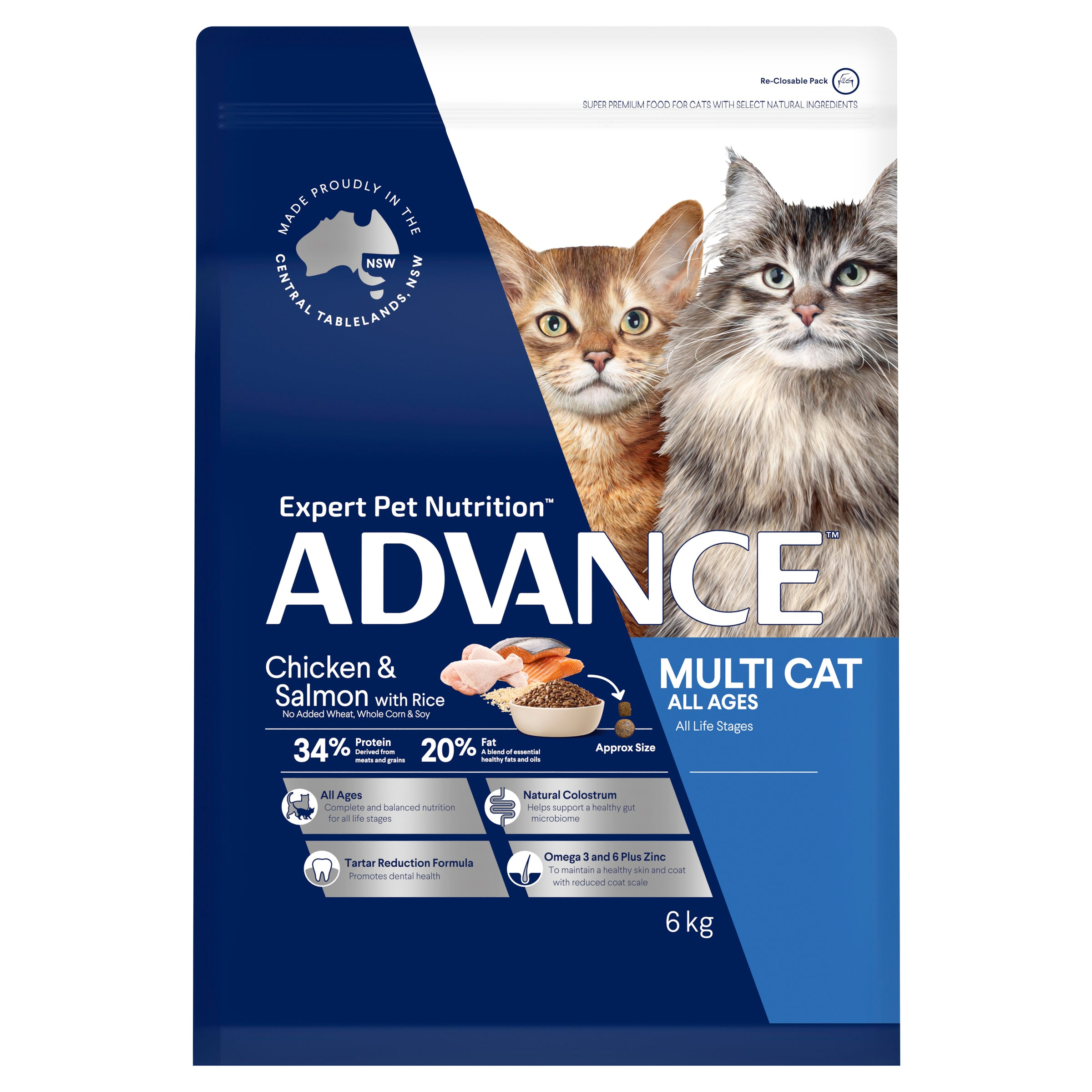 ADVANCE™ Multi Cat All Ages Dry Cat Food Chicken & Salmon with Rice 6kg