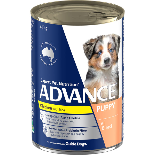 ADVANCE™ Puppy Plus Growth Chicken and Rice Wet Dog Food 12x410g Cans