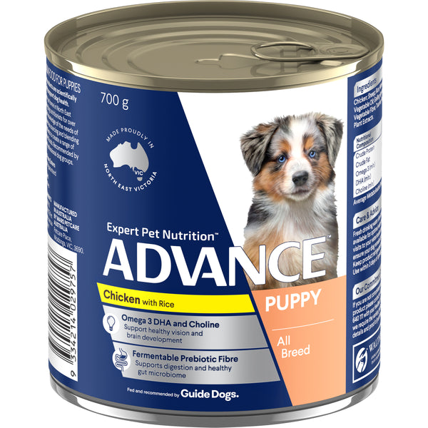 ADVANCE™ Puppy Plus Growth Chicken and Rice Wet Dog Food 12x700g Cans