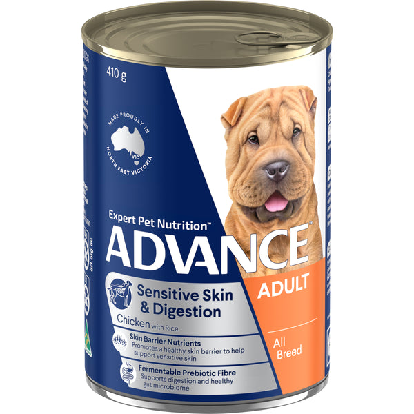 ADVANCE™ Adult All Breed Sensitive Chicken & Rice Wet Dog Food 12x410g Cans