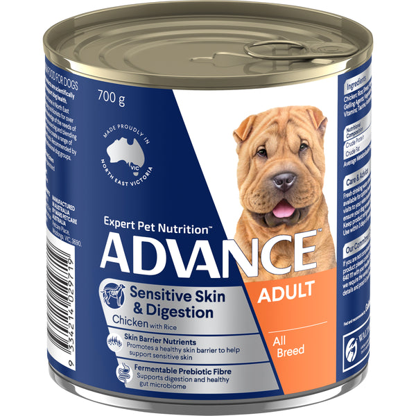 ADVANCE™ Adult All Breed Sensitive Chicken & Rice Wet Dog Food 12x700g Cans