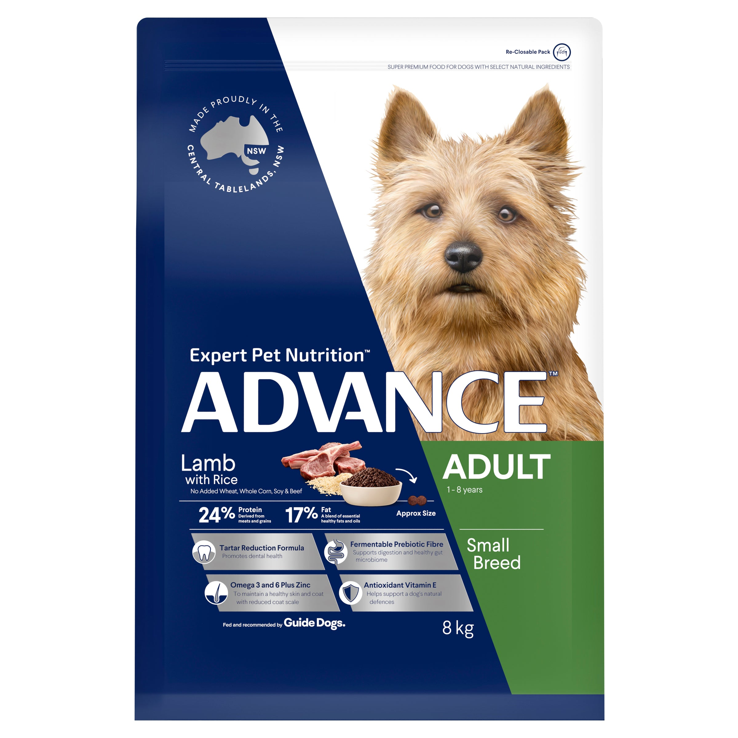 ADVANCE™ Adult Small Breed Lamb with Rice Dry Dog Food 8kg