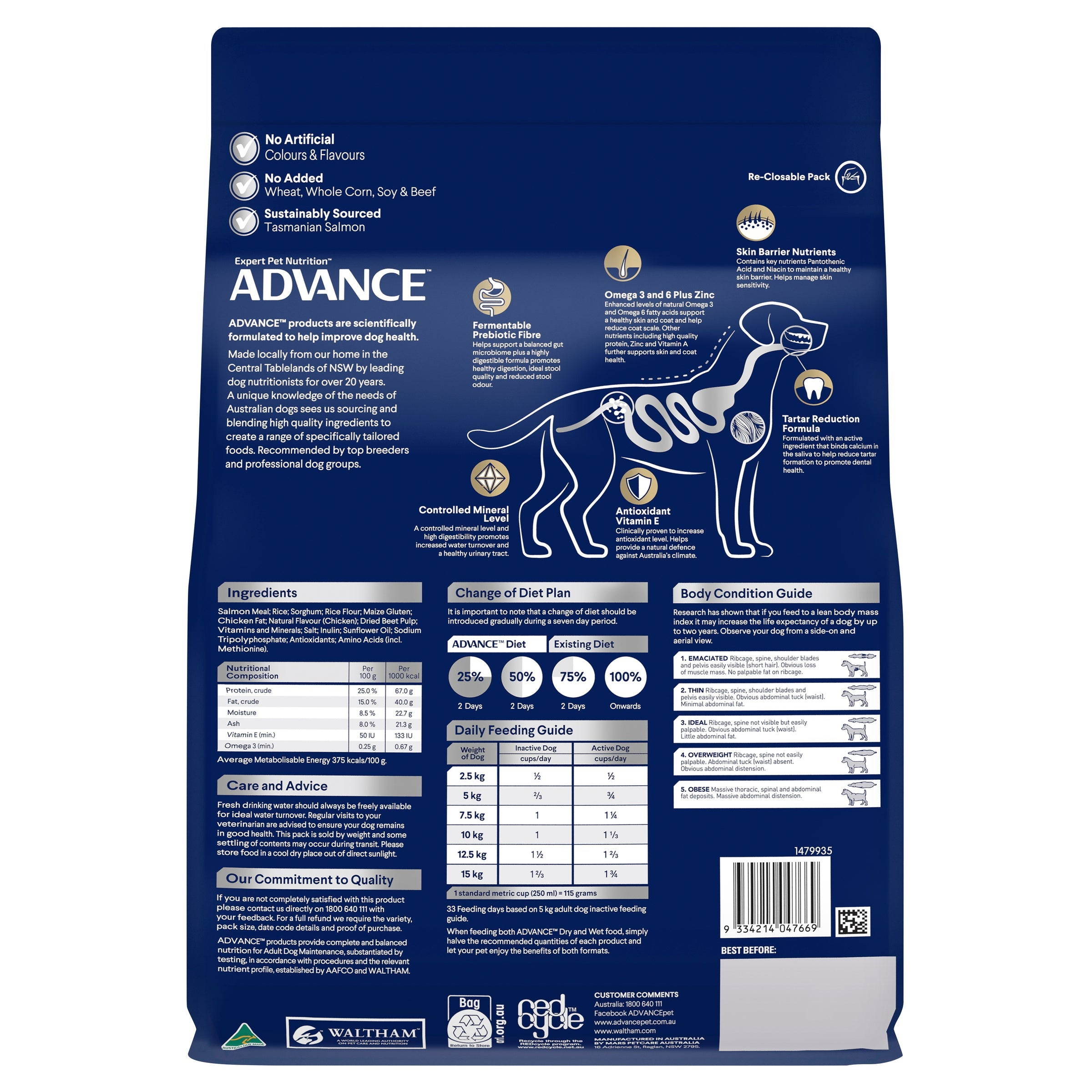 ADVANCE™ Terriers Adult Small Breed Ocean Fish with Rice Dry Dog Food 2.5kg