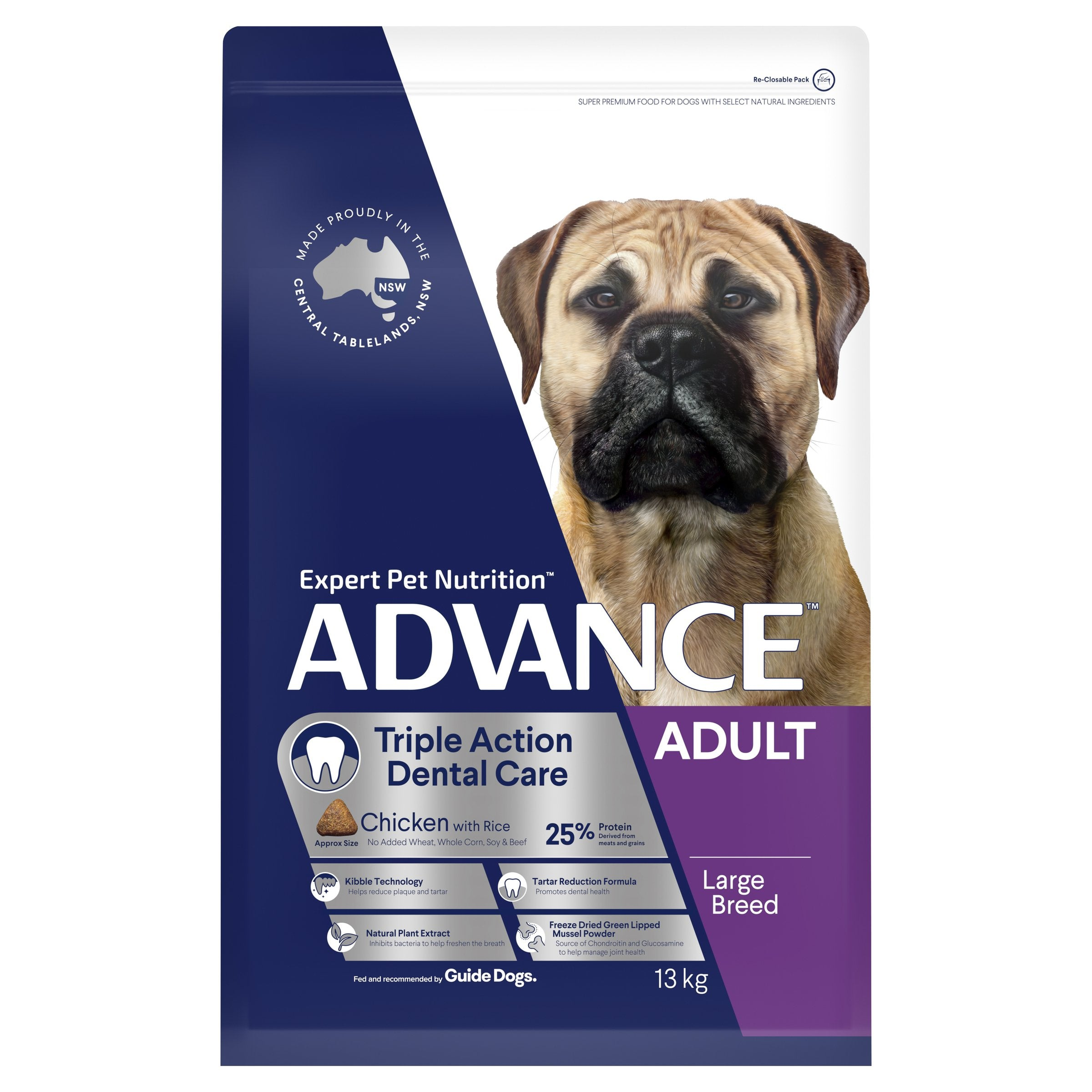 ADVANCE™ Dental Care Triple Action Large Breed Chicken with Rice Dry Dog Food 13kg