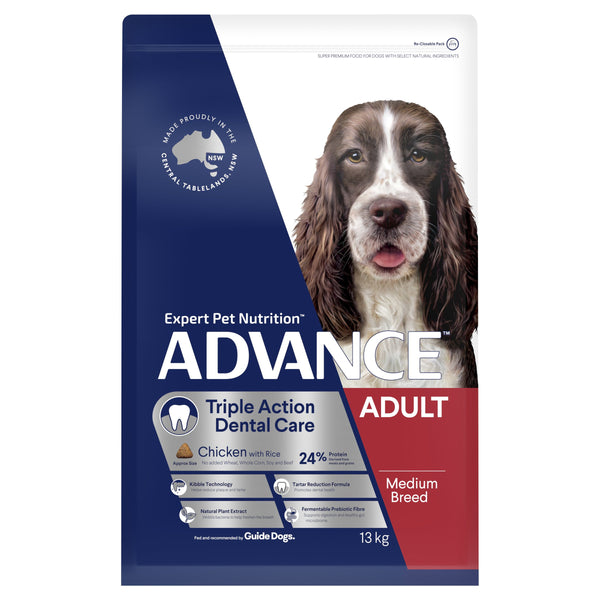 ADVANCE™ Dental Care Triple Action Medium Breed Chicken with Rice Dry Dog Food 13kg