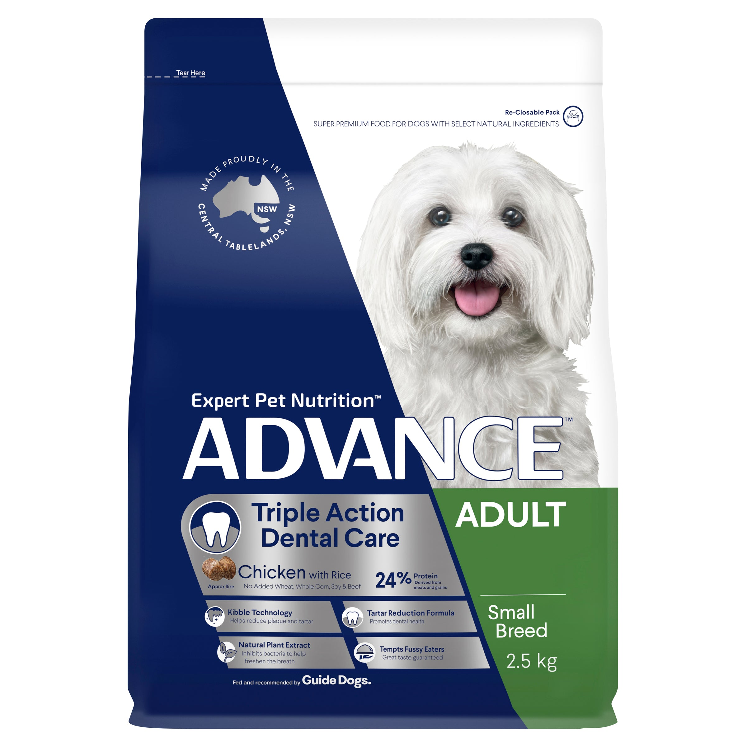 ADVANCE™ Dental Care Triple Action Adult Small Breed Chicken with Rice Dry Dog Food 2.5kg