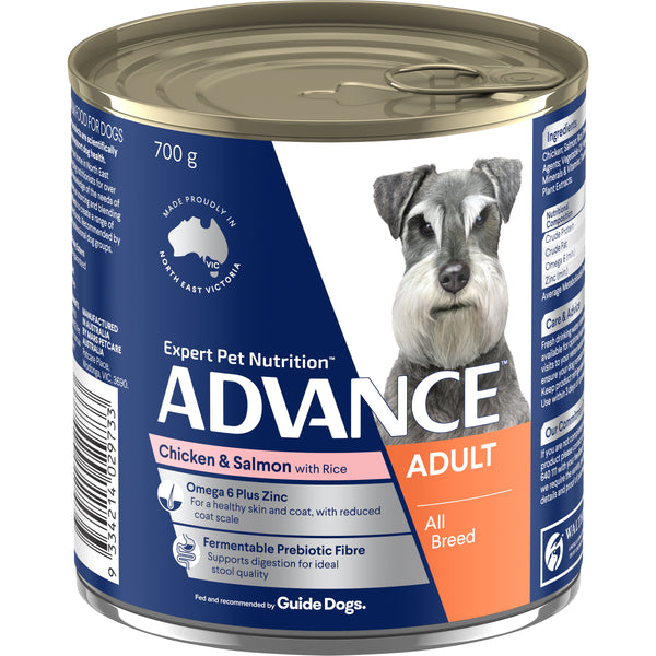 ADVANCE™ Adult All Breed Chicken & Salmon Wet Dog Food 12x700g Cans
