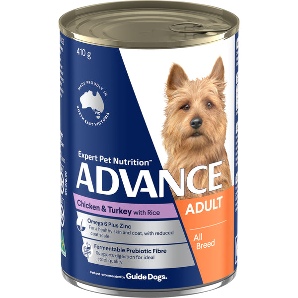 ADVANCE™ Adult All Breed Chicken Turkey and Rice Wet Dog Food 12x410g Cans
