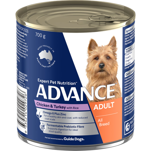 ADVANCE™ Adult All Breed Chicken Turkey and Rice Wet Dog Food 12x700g Cans