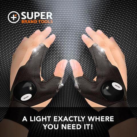 SuperGloves™ LED Flashlight Gloves - A Light Exactly Where You Need it!
