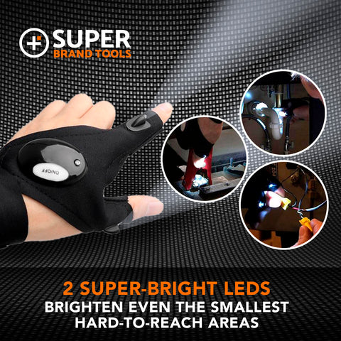 Image of SuperGloves™ LED Flashlight Gloves - A Light Exactly Where You Need it!