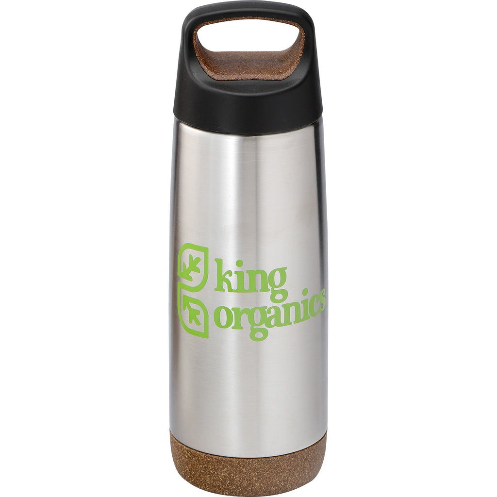 Skid Proof Insulated Bottle 20 Oz. 😀 in Steel color with a black lid in a white background.