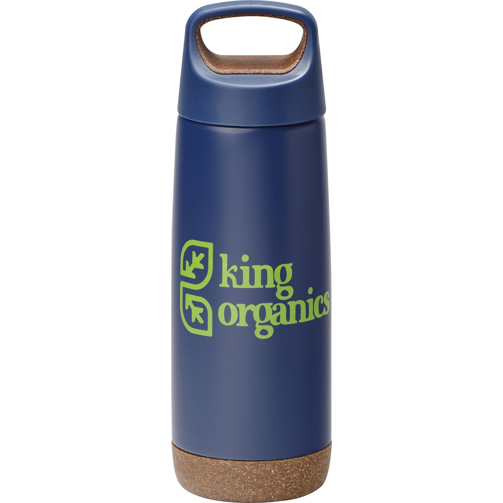 Skid Proof Insulated Bottle 20 Oz. 😀 in Blue with 2 Color Logo Ethical Swag in a White background.