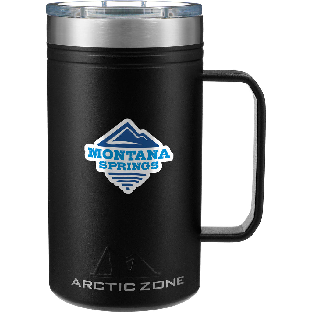 Black Classic Thermal Camp Mug 24 Oz with Lid 😃  in a white background. This amazing mug is ideal for sipping coffee or tea by the campfire. Add your custom logo and we'll ship it to your clients, staff and virtual attendees.