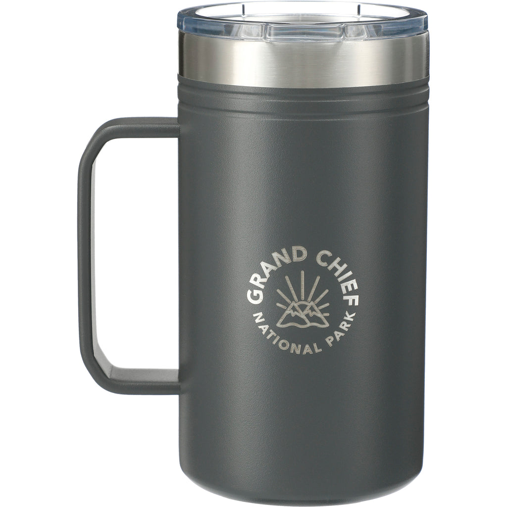 Gray Classic Thermal Camp Mug 24 Oz with Lid 😃  in a white background. This amazing mug is ideal for sipping coffee or tea by the campfire. Add your custom logo and we'll ship it to your clients, staff and virtual attendees.
