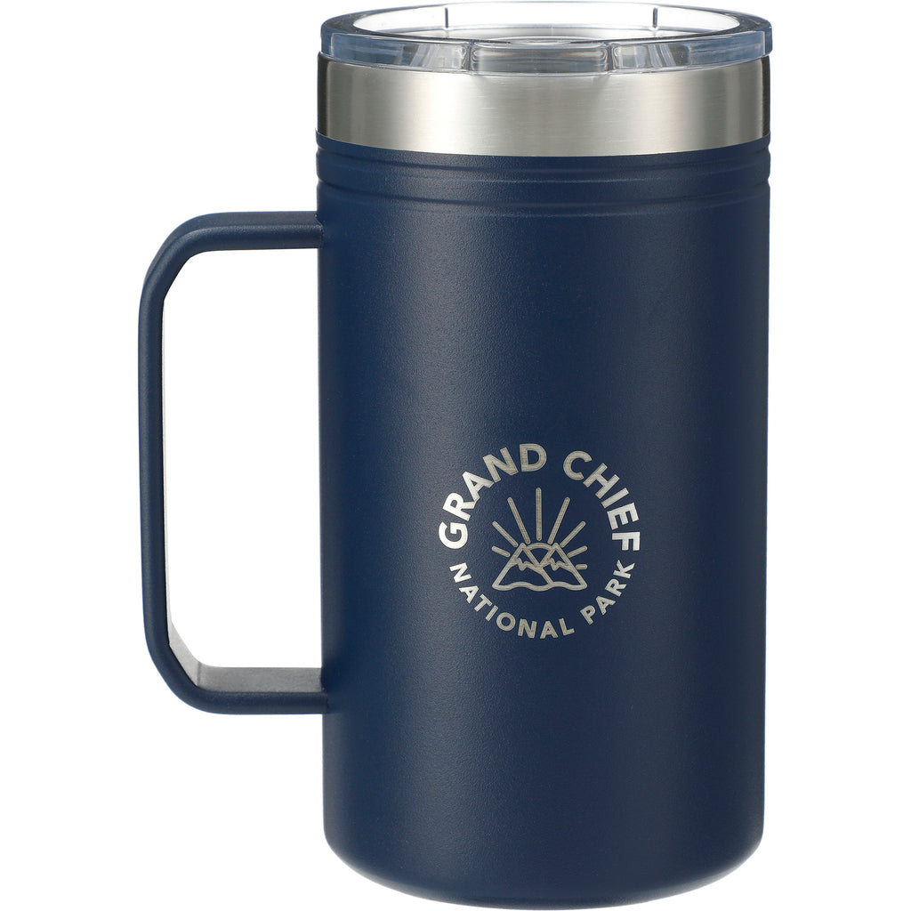 Blue Classic Thermal Camp Mug 24 Oz with Lid 😃  in a white background. This amazing mug is ideal for sipping coffee or tea by the campfire. Add your custom logo and we'll ship it to your clients, staff and virtual attendees.
