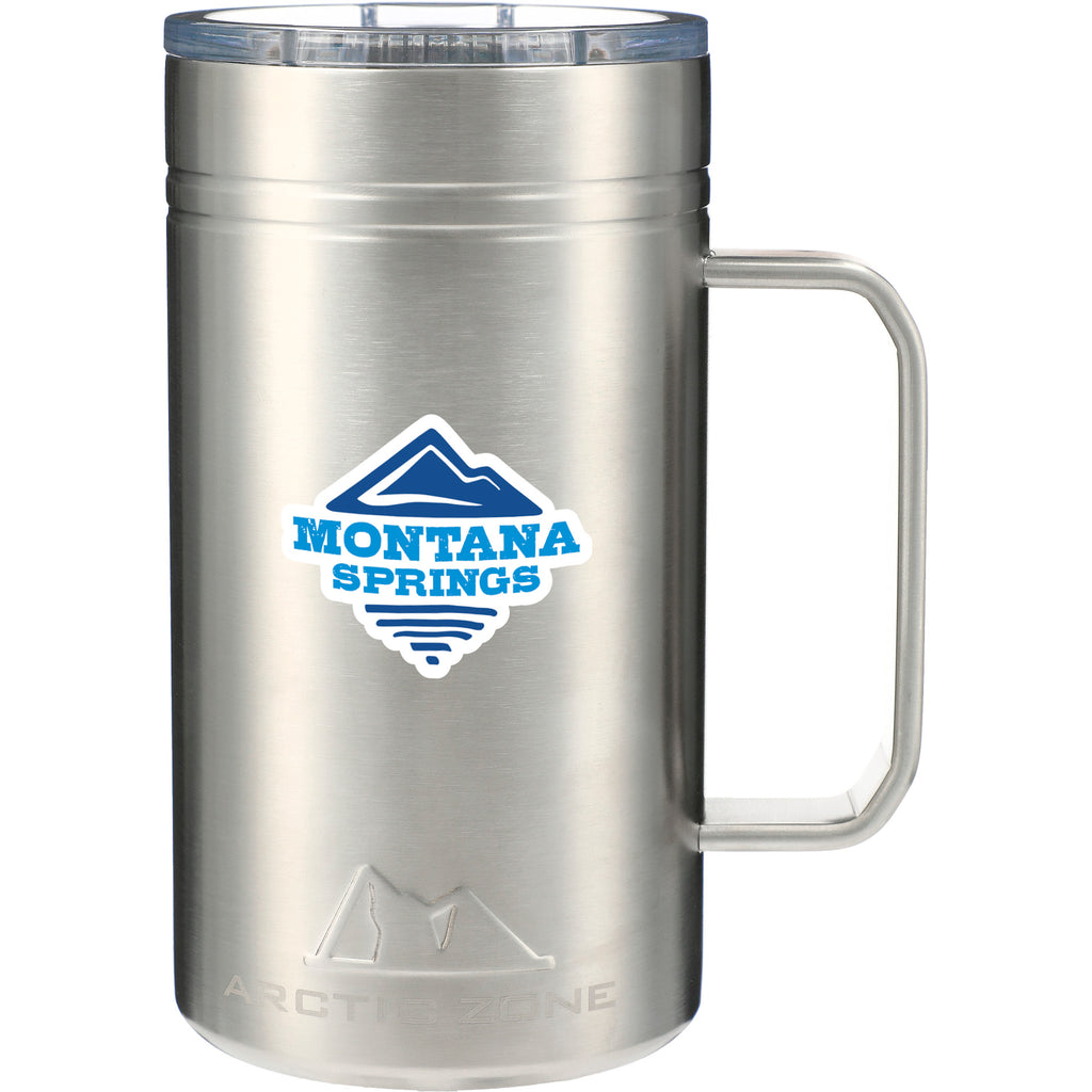Stainless Steel Classic Thermal Camp Mug 24 Oz with Lid 😃  in a white background. This amazing mug is ideal for sipping coffee or tea by the campfire. Add your custom logo and we'll ship it to your clients, staff and virtual attendees.