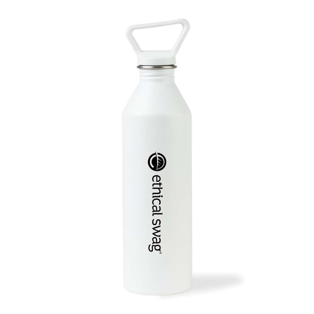 MiiR® Tall Bottle 27 Oz. 😃😃😃 in White, on a White Background and Lid on.