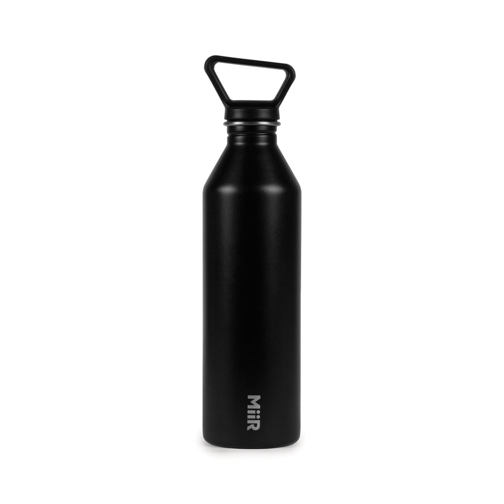MiiR® Tall Bottle 27 Oz. 😃😃😃 in Black on a White Background and Lid on.