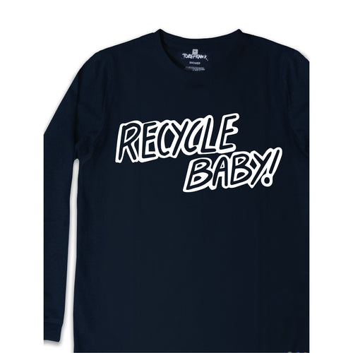RECYCLE BABY TEXT DIGITAL PRINT - UNISEX SAMMY TEE IN NAVY.
